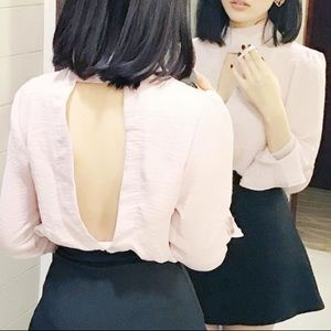 pink open back blouse deep V sexy